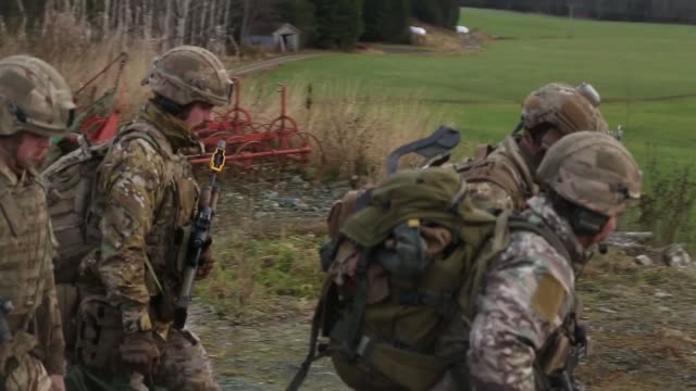 us marines and united kingdom royal marines executed a tactical recovery of aircraft and personnel in rindal norway during exercise trident juncture... - stretcher stock videos and b-roll footage