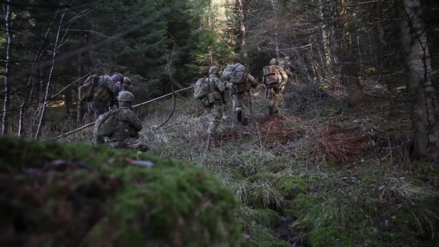 marines and united kingdom royal marines executed a tactical recovery of aircraft and personnel in rindal, norway during exercise trident juncture on... - royal marines stock videos & royalty-free footage