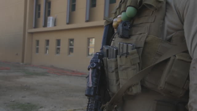 marines assigned to the special purpose marine air-ground task force-crisis response-central command reinforce the baghdad embassy compound in iraq,... - guarding stock videos & royalty-free footage