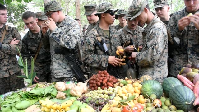 marines choose local fruits during jungle survival training as part of the military exercise cobra gold 2020 at a navy base in chanthaburi province.... - forze armate statunitensi video stock e b–roll