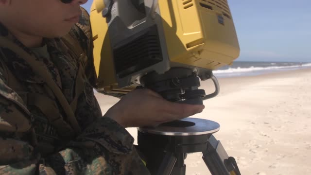 US Marines conduct a hydrographic survey to map the ocean floor at Onslow Beach Camp Lejeune North Carolina June 21 2019