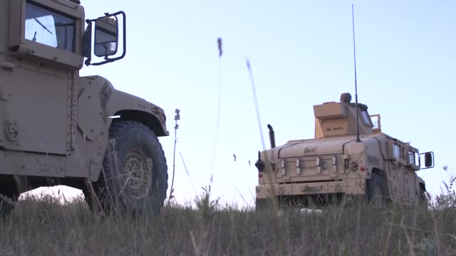 stockvideo's en b-roll-footage met us marines conduct a mechanized range rehearsal during agile spirit 19 in orpholo georgia 1 august 2019 - humvee