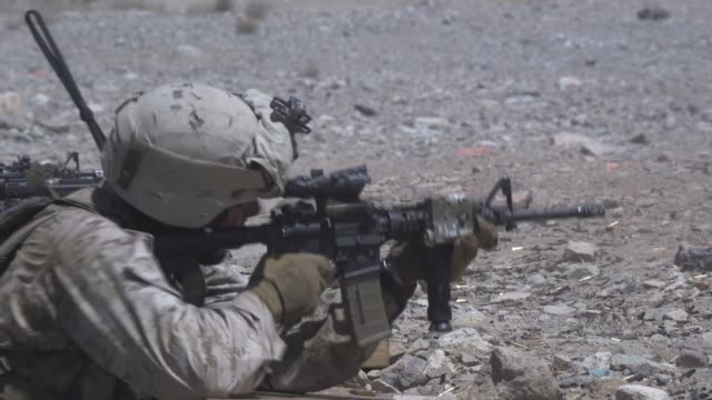us marines conduct a platoonsized attack on range 410a during the integrated training exercise 519 at marine corps air ground combat center... - platoon stock videos and b-roll footage