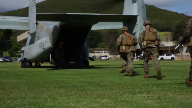 vídeos de stock e filmes b-roll de us marines conduct simulated tactical recovery of aircraft personnel and a combat search and rescue scenario training aboard marine corps base hawaii... - treino militar