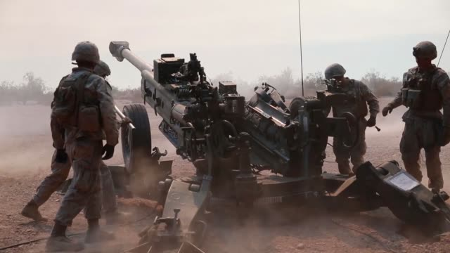us marines conduct targeting and indirect fires with m777 howitzers during exercise summer fury at marine corps air station yuma california 15 july... - marines stock videos & royalty-free footage
