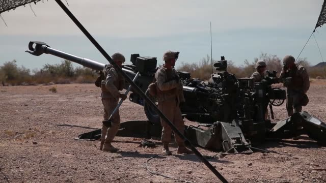 marines conduct targeting and indirect fires with m777 howitzers during exercise summer fury at marine corps air station, yuma, california, 15 july... - howitzer stock videos & royalty-free footage