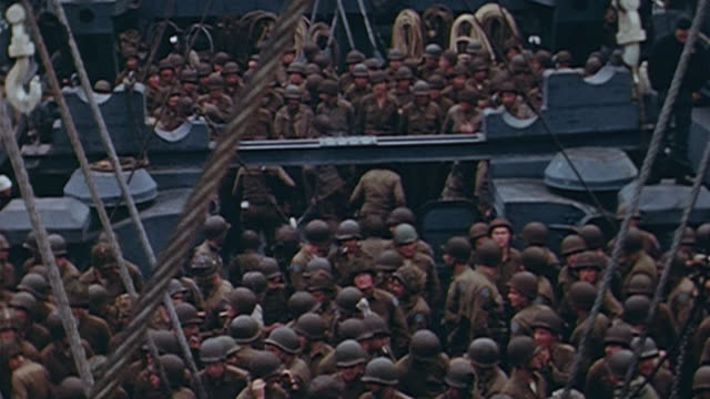 marines crowded aboard the deck of a ship / okinawa, japan - 1945 stock videos & royalty-free footage