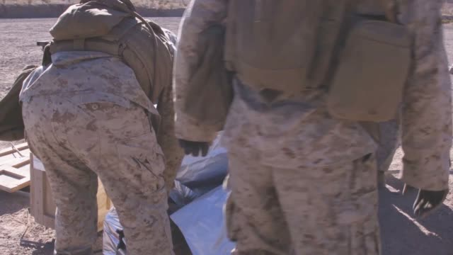 us marines detonate explosive charges during an integrated training exercise at marine corps air ground combat center twentynine palms california... - us marine corps stock videos & royalty-free footage