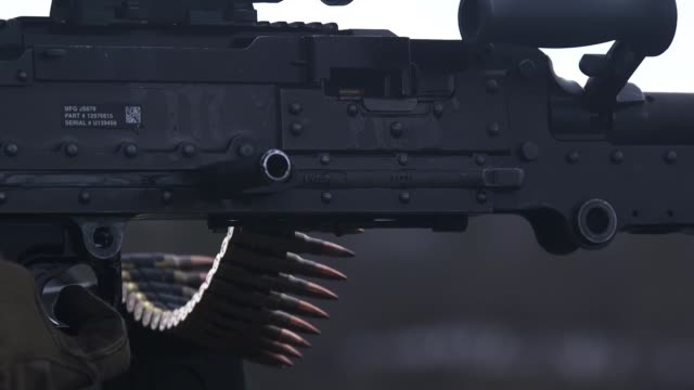 us marines fire m240b machine guns and benelli m4 shotguns during deployment for training at bardufoss firing range norway may 27 2019 - machine gun stock videos & royalty-free footage
