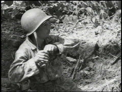 s marines firing mortar shell explosion up on hill soldiers firing machine gun throwing grenade rocket launcher amp mortars soldiers advancing wwii... - rocket launcher stock videos & royalty-free footage