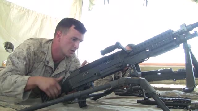 marines firing the m2 50 caliber machine gun as well as taking a class on the m240 machine gun during javelin thrust - machine gun stock videos & royalty-free footage