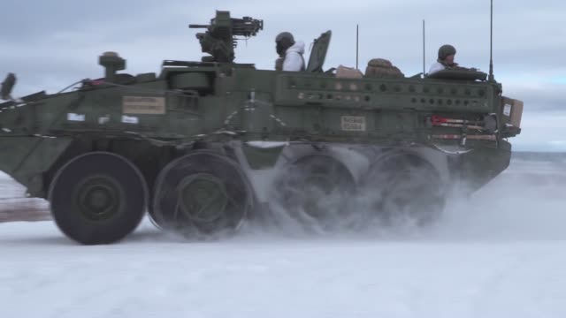 marines from kilo company, 3rd battalion, 8th marine regiment, conduct a joint live-fire training exercise at fort greely, alaska, march 15, as part... - military land vehicle stock videos & royalty-free footage