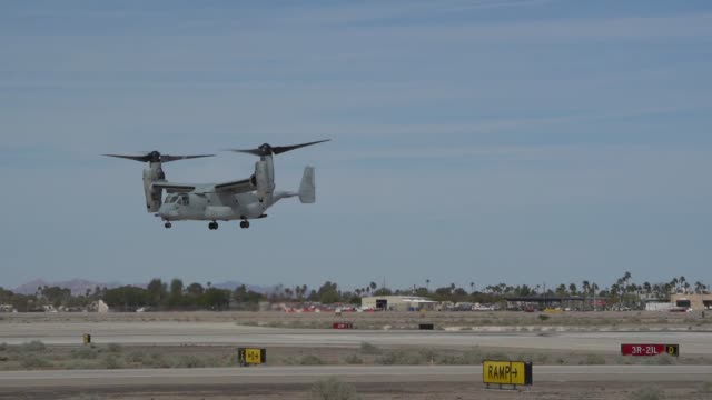 us marines host their annual airshow at marine corps air station yuma arizona - osprey stock videos & royalty-free footage