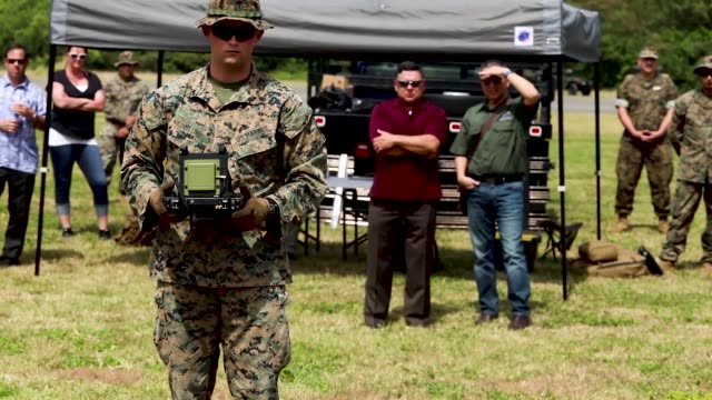 us marines launch drones from marine corps base hawaii - marine stock-videos und b-roll-filmmaterial