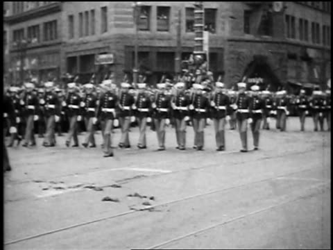 marines marching slowly in president harding's funeral procession / san francisco - 1923 stock videos & royalty-free footage