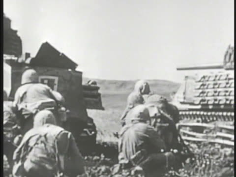 Marines on top of hill Tank Infantry Marines walking behind moving tank WS Valley w/ tank on fire white bomb explosion tank burning Pacific Theater...