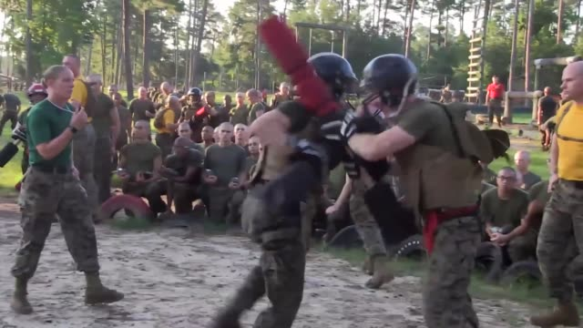 marines participate in close quarter combat and bayonet fighting skills during recruit training on parris island, marine corps recruit depot. pugil... - us marine corps stock videos & royalty-free footage