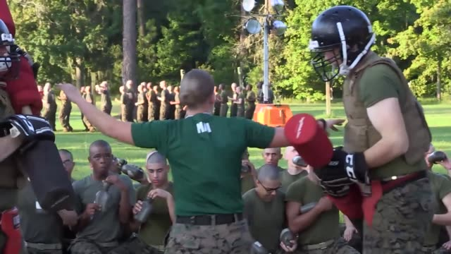 us marines participate in close quarter combat and bayonet fighting skills during recruit training on parris island marine corps recruit depot pugil... - bayonet stock videos & royalty-free footage