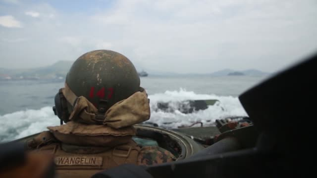 us marines philippine marine corps and the japan ground self defense force conduct ship to shore movements during the bilateral training exercise... - amphibious vehicle stock videos and b-roll footage