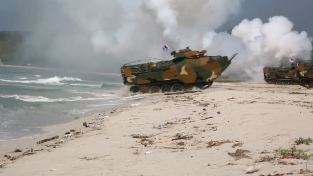 US Marines Republic of Korea Marines and Royal Thai Marines participate in an amphibious landing during Exercise Cobra Gold 18 at Hat Yao Beach...