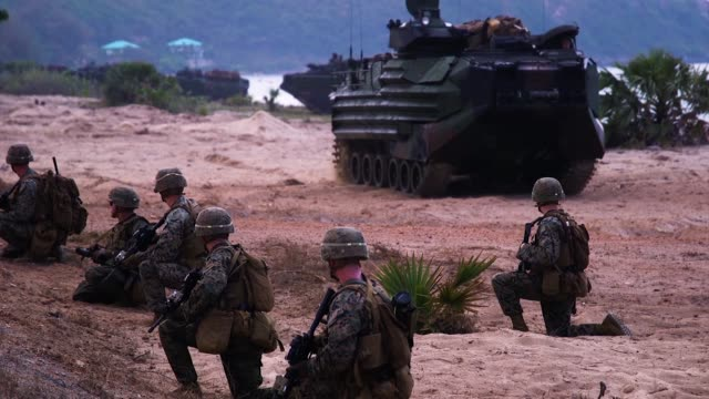 us marines republic of korea marines and royal thai marines participate in an amphibious landing during exercise cobra gold 18 at hat yao beach... - amphibious vehicle stock videos & royalty-free footage