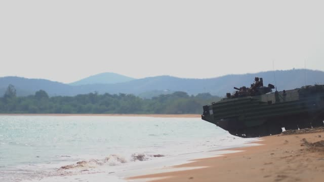 us marines return to amphibious transport dock uss green bay from the coast of thailand during exercise cobra gold - amphibious vehicle stock videos & royalty-free footage