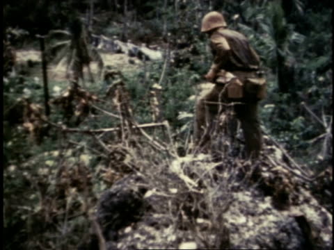 marines searching through brush and throwing dynamite / guam - guam video stock e b–roll