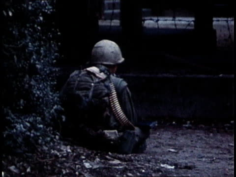 marines sitting with machine guns at the ready / south vietnam - m16 stock videos & royalty-free footage