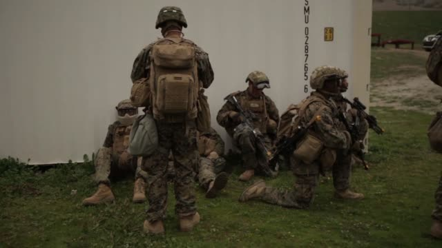 US Marines test potential gear to fight in future complex terrains during Urban Advanced Naval Technology Exercise 2018 at Marine Corps Base Camp...