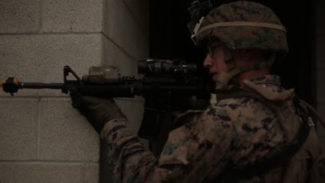 us marines test potential gear to fight in future complex terrains during urban advanced naval technology exercise 2018 at marine corps base camp... - base camp stock videos & royalty-free footage