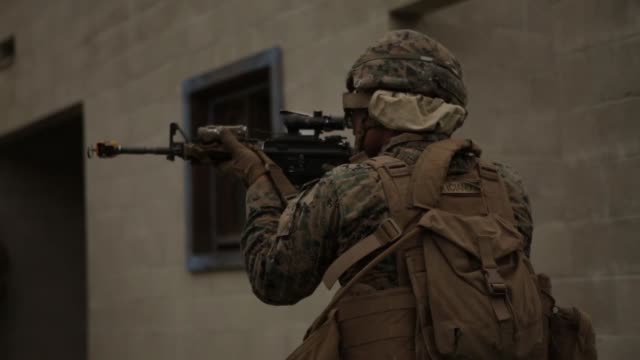 us marines test potential gear to fight in future complex terrains during urban advanced naval technology exercise 2018 at marine corps base camp... - base camp stock videos and b-roll footage