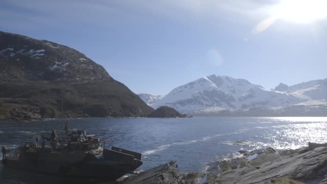 marines together with norwegian coastal ranger conduct exercise platinum ren at fort trondennes, harstad, norway, may 30, 2019. - traditionally norwegian stock videos & royalty-free footage