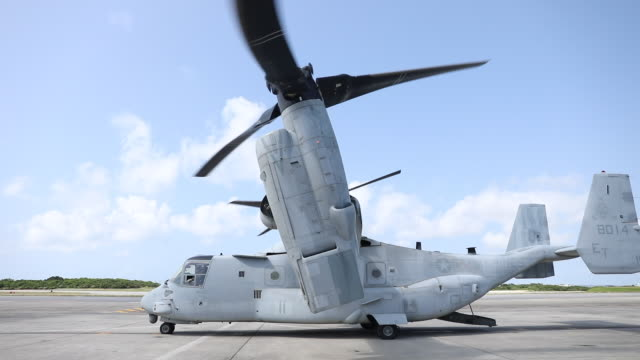 a us marines v22 osprey ready for launch - us marine corps stock videos & royalty-free footage