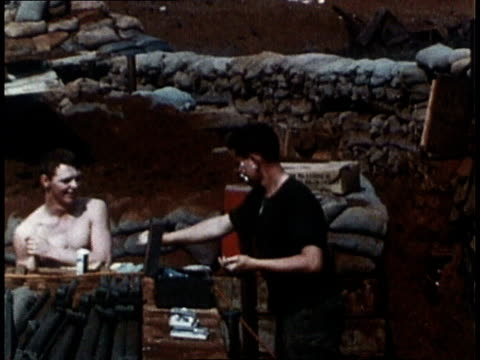 marines wash read nap and clean up during a lull in the vietnam war / khe sanh south vietnam - south vietnam stock videos and b-roll footage