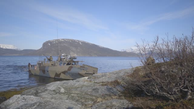 marines with 1st & 2nd reconnaissance battalion, and norwegian coastal ranger conduct exercise platinum ren at fort trondennes, harstad, norway, may... - ministero americano della difesa video stock e b–roll