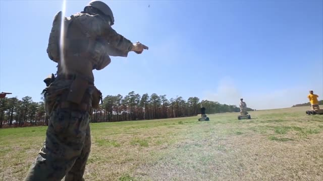 us marines with 1st battalion 2nd marine regiment 2nd marine division participate in a livefire training event using autonomous robotic targets on... - us marine corps stock videos & royalty-free footage