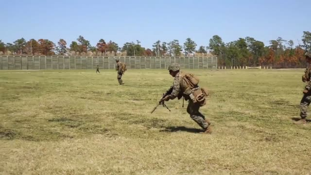 us marines with 1st battalion 2nd marine regiment 2nd marine division participate in a livefire training event using autonomous robotic targets on... - regiment stock videos & royalty-free footage