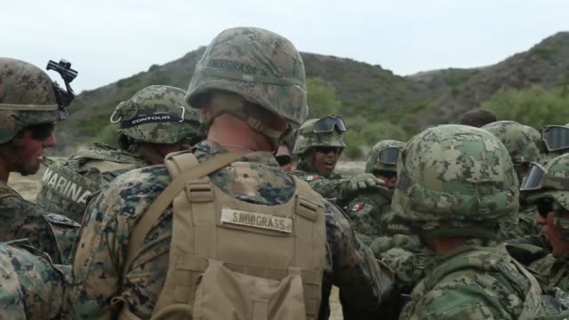 marines with 2nd battalion, 1st marine regiment, and mexican marines with the amphibious marine infantry brigade work together in integrated squads... - infantry stock videos & royalty-free footage