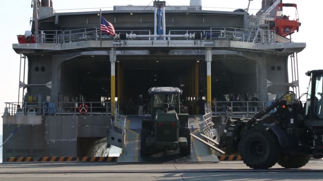 us marines with 2nd battalion 1st marine regiment disembark the highspeed transport united states navy ship guam at marine corps air station iwakuni... - 米軍点の映像素材/bロール
