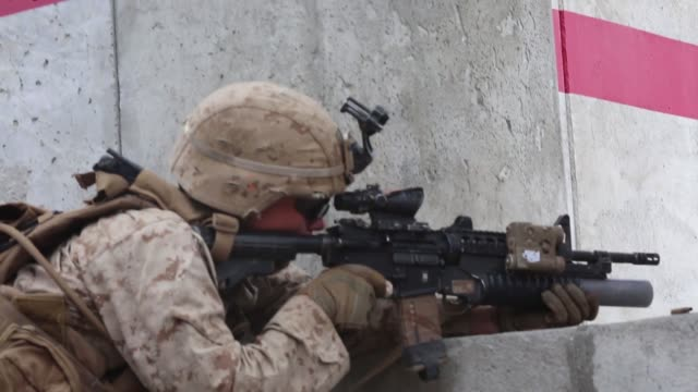 marines with animal company, marine air-ground task force-6 conduct a company urban assault during integrated training exercise 2-19 at marine corps... - sniper stock videos & royalty-free footage