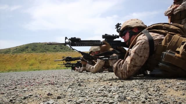 marines with bravo company 7th engineer support battalion 1st marine logistics groups train in the combat rifle program aboard camp pendleton calif... - m16 stock videos & royalty-free footage