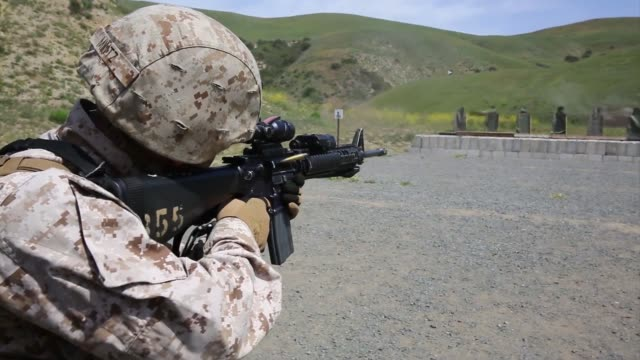 marines with bravo company 7th engineer support battalion 1st marine logistics groups train in the combat rifle program aboard camp pendleton calif... - automatic stock videos & royalty-free footage