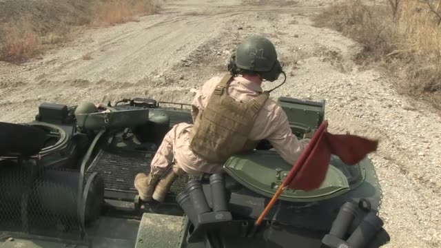 US Marines with Combined Assault Battalion III Marines Expeditionary Force conducted Mark19 and M250 Cal training on Assault Amphibious Vehicles in...
