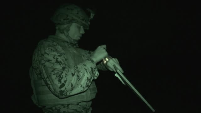us marines with company a 1st battalion 6t marine regiment support tactical air control party with 60mm mortars at atlantic nc jan 25 2018 the... - 演習点の映像素材/bロール