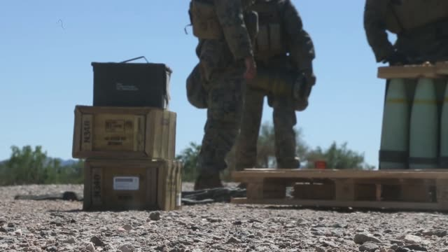us marines with echo battery 2nd battalion 11th marine regiment 1st marine division conduct a supporting fire exercise during ch53e super stallion... - drill instructor stock videos & royalty-free footage