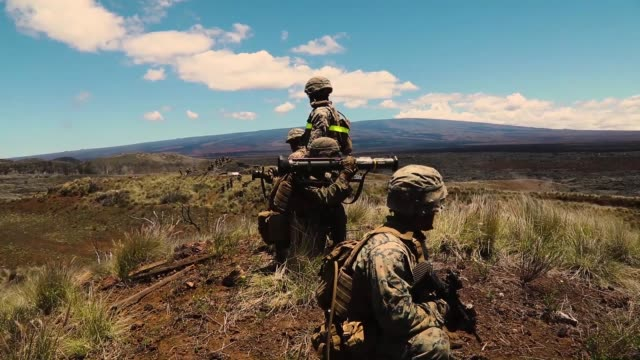 us marines with echo company conduct a platoon supported attack during exercise bougainville ii at pohakuloa training area hawaii 11 may 2019 - platoon stock videos and b-roll footage
