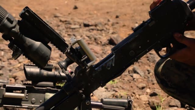 vídeos de stock, filmes e b-roll de us marines with echo company conduct a platoon supported attack during exercise bougainville ii at pohakuloa training area hawaii 11 may 2019 - arbusto tropical