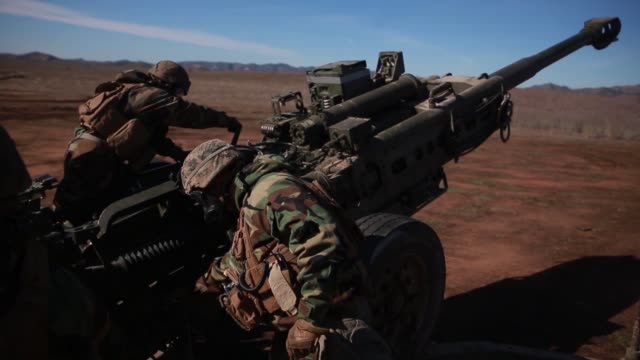 US Marines with Golf Battery conduct live fire training during Exercise Steel Knight at Marine Corps Base Camp Pendleton California December 2 2018
