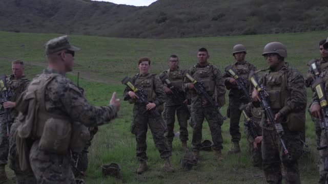 US Marines with Golf Company Marine Combat Training Battalion School conduct patrolling drills on Camp Pendleton California March 20 2018