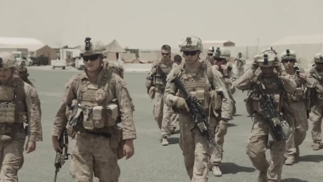 marines with india company, 3rd battalion, 7th marine regiment, 1st marine division attached to special purpose marine air-ground task force, crisis... - iraq video stock e b–roll